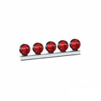 Conjunto Com 5 Lanternas - Vermelho - Com Lente (S1175)