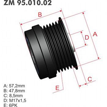 Polia Alternador Roda Livre (Decoupler) PONTIAC (ZM9501002)