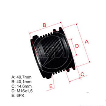 Polia Alternador Roda Livre (Decoupler) AUDI VW SEAT (ZM9600