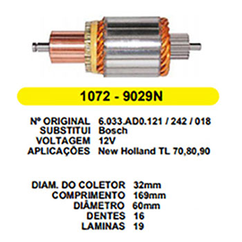 Induzido Partida CARGO F250 F4000 - Sistema BOSCH (JR9029) -