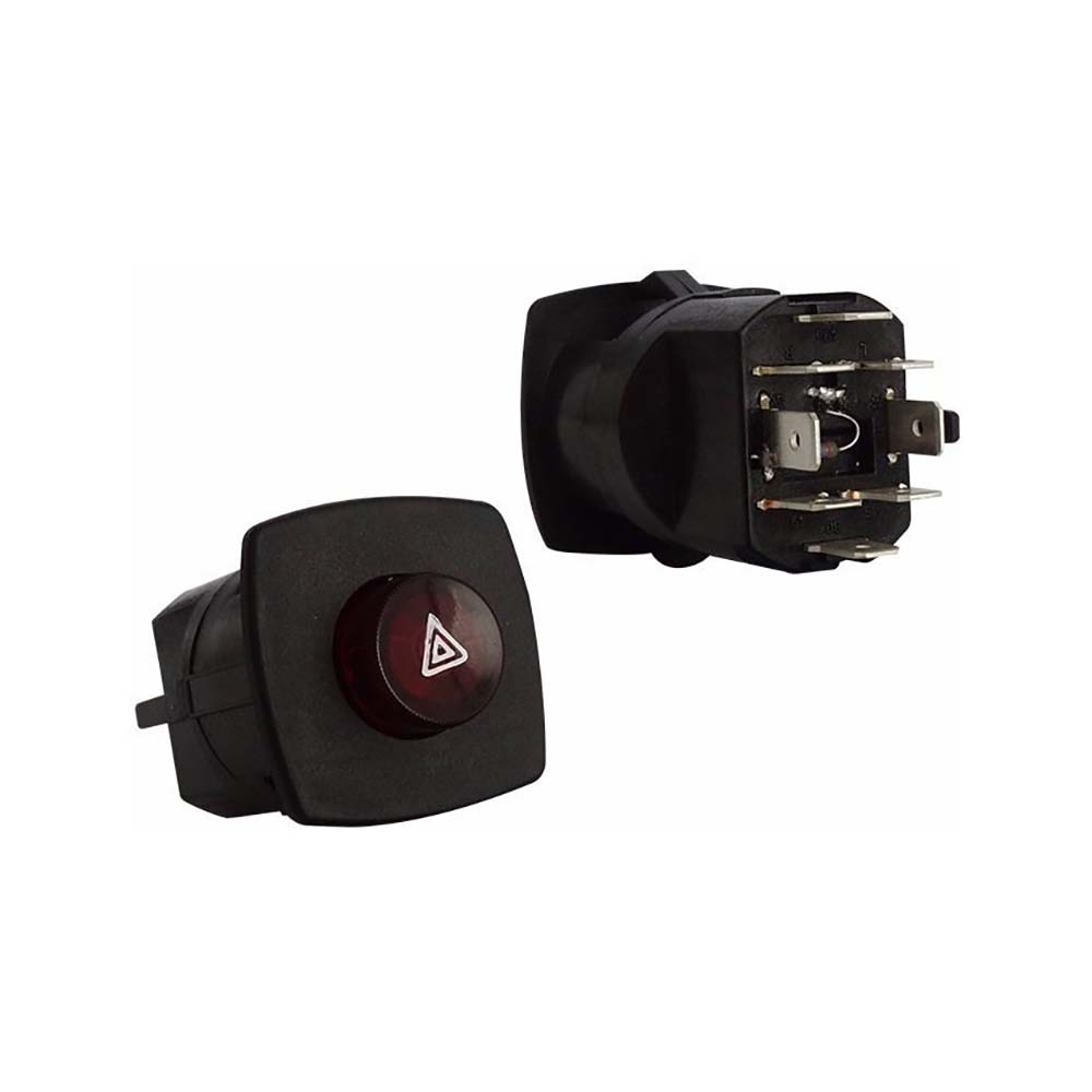 Interruptor Pisca Alerta MBB - CARA PRETA - 08 Terminais -
