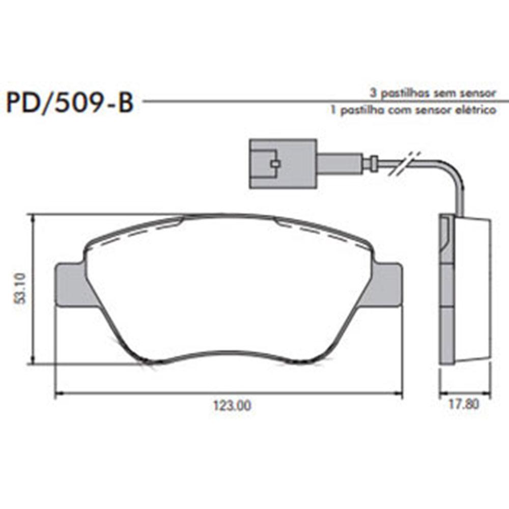 Pastilha Freio (PD509B)  -  FRASLE - JOGO  - Cod. SKU: P4927