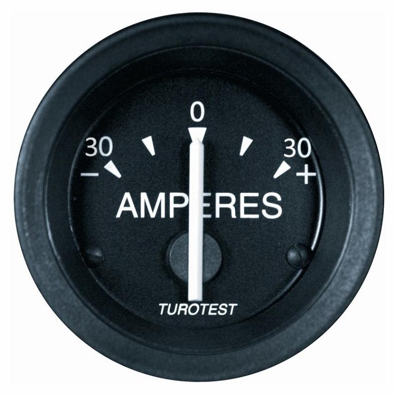 Amperímetro 52mm -30+30A Aro Cromado (TUR302672) - TUROTEST