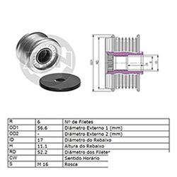 Polia Alternador Roda Livre SENTRA 2.5 (ZEN5500)