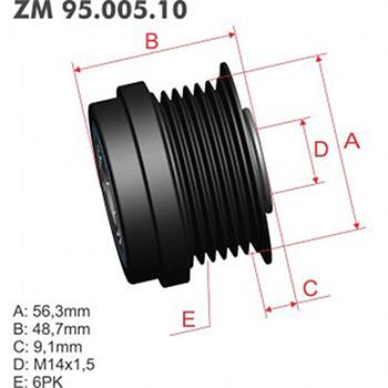 Polia Alternador Decoupler GM  - ZM - PEÇA  - Cod. SKU: ZM9500510