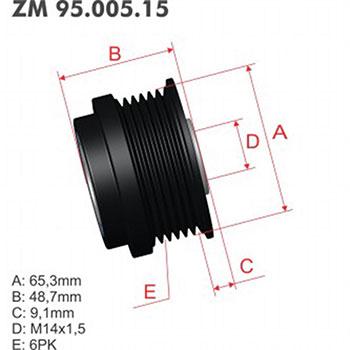 Polia Alternador Decoupler HONDA  - ZM - PEÇA  - Cod. SKU: ZM9500515