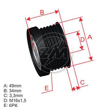 Polia Alternador Roda Livre BMW Series 1 a 7 X1 X3 X5 Z4 - Z