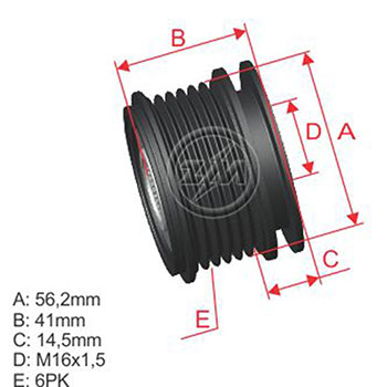 Polia Alternador Roda Livre AUDI FORD VW  - ZM - PEÇA  - Cod