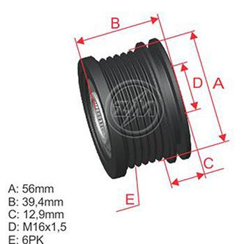 Polia Alternador Roda Livre AUDI VW ZM9600012