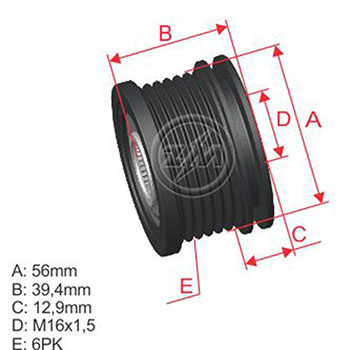 Polia Alternador Roda Livre AUDI VW  - ZM - PEÇA  - Cod. SKU