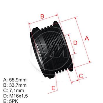 Polia Alternador Roda Livre AUDI VW - ZM - PEÇA - SKU: ZM960