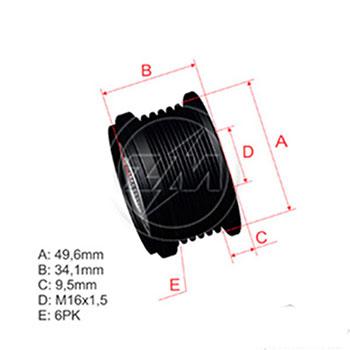 Polia Alternador Roda Livre BMW - ZM - PEÇA - SKU: ZM9600026