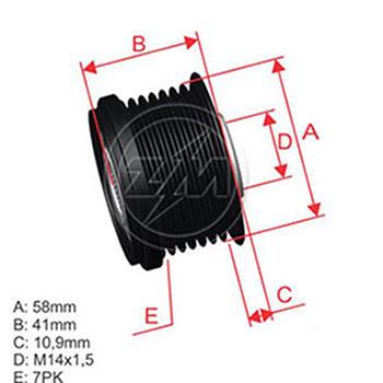 Polia Alternador Roda Livre COROLLA HILUX RAV4