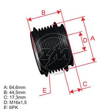 Polia Alternador Roda Livre A4 A6 - ZM - PEÇA  - Cod. SKU: Z